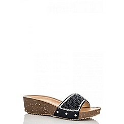 Quiz - Black diamanté slip on wedges