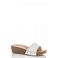 Quiz - Silver diamanté slip on wedges