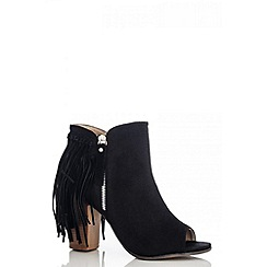 Quiz - Black Felt Fringe Peep Toe Boots