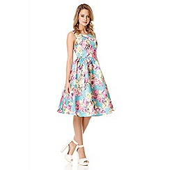 Quiz - Turquiouse Flower Print Satin Dress