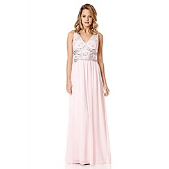 Quiz - Pale Pink Chiffon Embellished V Neck Maxi Dress