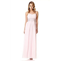 Quiz - Pink chiffon bandeau embellished maxi dress