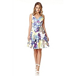 Quiz - White satin flower v neck dress