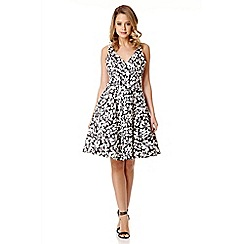Quiz - Black Satin Flower Print Dress