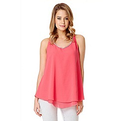 Quiz - Hot pink chiffon double layer embellished top