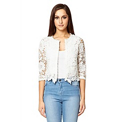 Quiz - White lace crop jacket