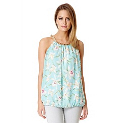 Quiz - Aqua floral bubble chain top