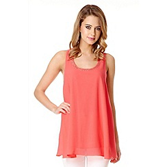Quiz - Coral Chiffon Bow Back Diamant  Top