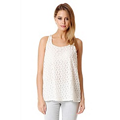 Quiz - Cream lace swing top
