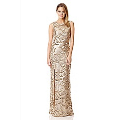 Quiz - Gold sequin leaf split front maxi dress