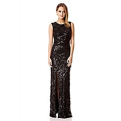 Quiz - Black sequin leaf split front maxi dress