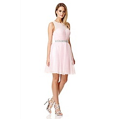 Quiz - Pale pink chiffon crystal prom dress