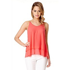 Quiz - Coral Chiffon Double Layer Cami Top