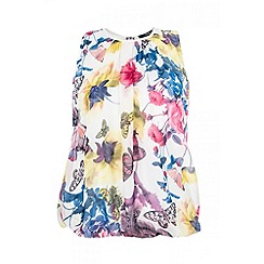 Quiz - White butterfly print bubble top