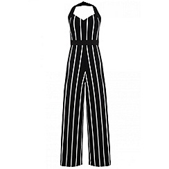 Quiz - Black stripe halter neck palazzo jumpsuit