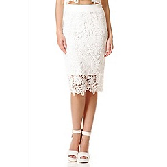 Quiz - White Lace Zip Back Midi Skirt