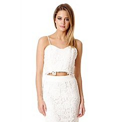 Quiz - White Lace Zip Back Crop Top