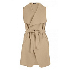 Quiz - Camel felt sleeveless blazer