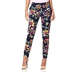 Quiz - Navy floral print cotton tapered trousers