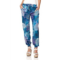 Quiz - Blue abstract print harem trousers