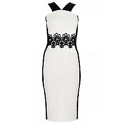 Quiz - Cream lace trim panel midi dress