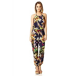 Quiz - Navy jungle print halter neck jumpsuit