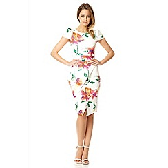 Quiz - Cream floral print asymmetric peplum dress