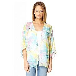 Quiz - Blue tropical print chiffon kimono