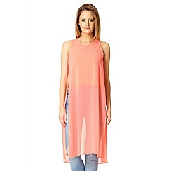 Quiz - Coral chiffon side split long top
