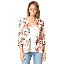 Quiz - Ivory floral print blazer