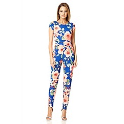 Quiz - Blue crepe floral low back jumpsuit