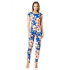 Quiz - Blue crepe floral low back jumpsuit