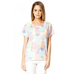 Quiz - Multi colour lace pineapple print top