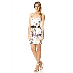 Quiz - Cream floral print fold front belt dress