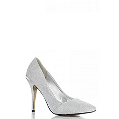 Quiz - Silver shimmer pointed toe court shoes