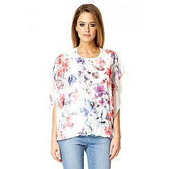 Quiz - White chiffon floral print batwing sleeve top