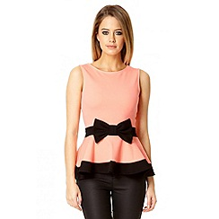 Quiz - Coral bow front peplum top