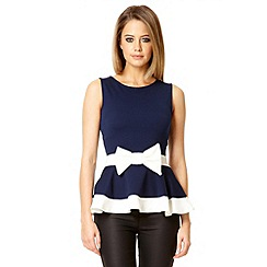 Quiz - Navy bow front peplum top