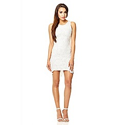 Quiz - White lace sleeveless tail dress