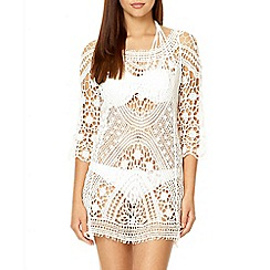 Quiz - White crochet 3/4 sleeve tunic dress