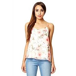 Quiz - Coral floral print chiffon swing vest top