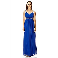 Quiz - Royal blue crossover beaded maxi dress