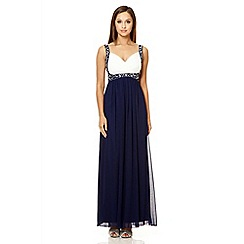 Quiz - Navy contrast crossover beaded maxi dress