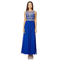 Quiz - Royal blue mesh bead maxi dress