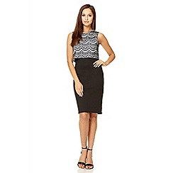 Quiz - Black lace overlap dress