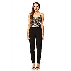 Quiz - Black lace strap crepe jumpsuit
