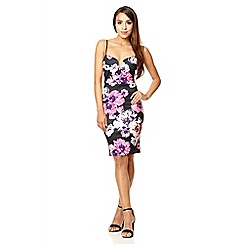 Quiz - Black floral print strap midi dress