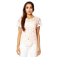 Quiz - Pink crochet scallop hem top