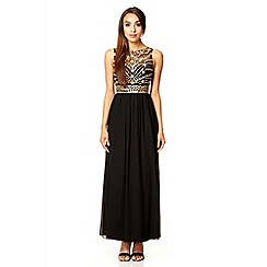 Quiz - Black mesh bead maxi dress