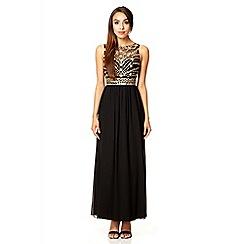 Quiz - Black mesh bead maxi dress